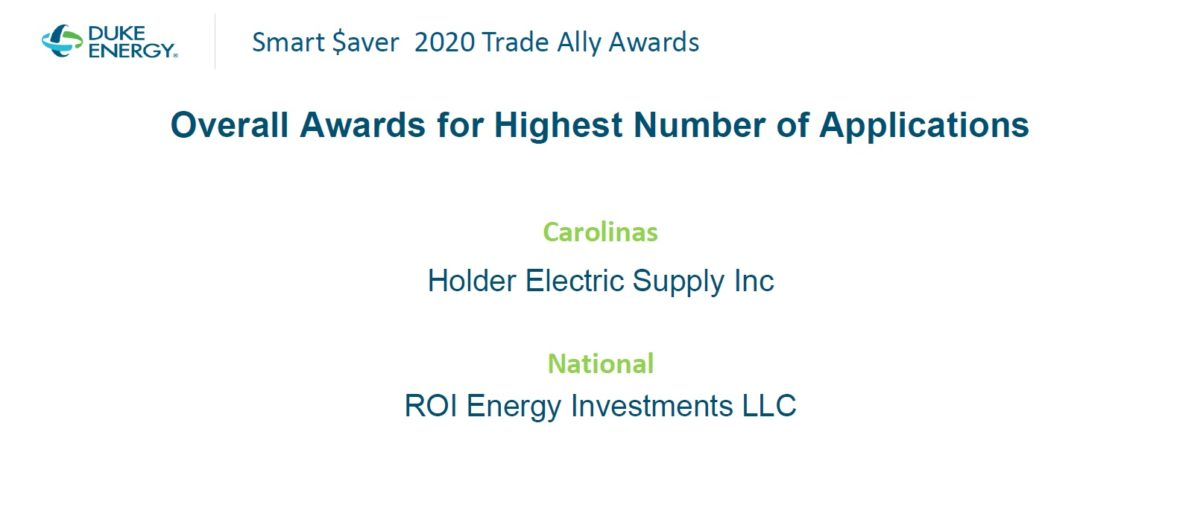 ROI Energy Investments Awarded by Duke Energy – Thanks to ALL of Our Customers!